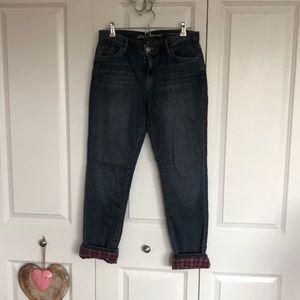 Eddie Bauer flannel lined boyfriend jeans